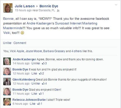 Testimonial FB Julie Larson 500w